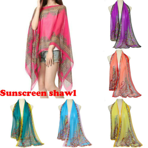 160x50cm Summer Print Silk   Scarf   Oversized Chiffon   Scarf   Women Pareo Beach Cover Up 2019   Wrap   Sarong Sunscreen Long Cape Female