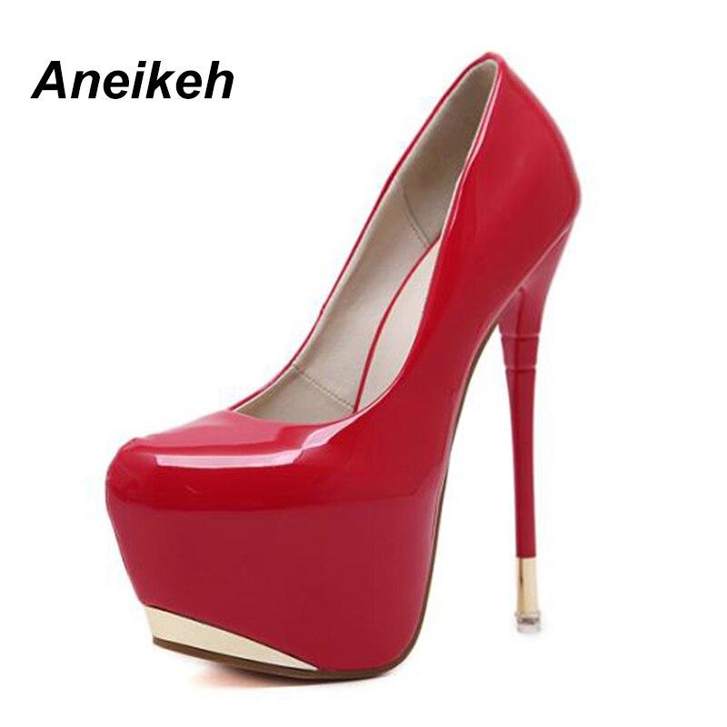 Aneikeh Woman Sexy Pumps Extreme High Heels Designer Shoes Platform Patent Leather Pumps Stiletto Wedding Party Shoes Size 34-40