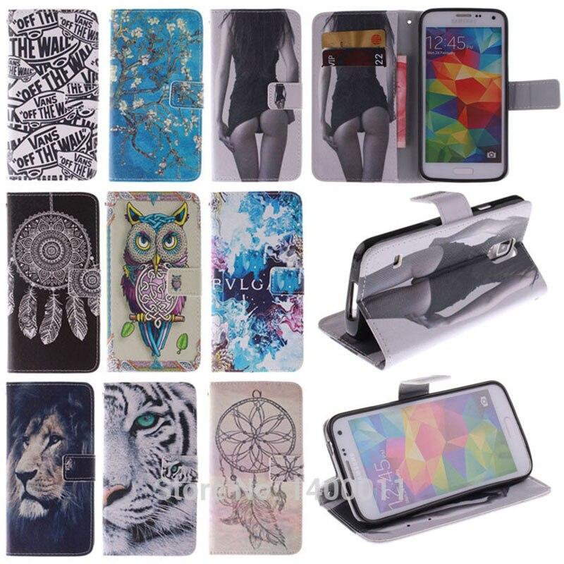 Peinture Stand Housse En Cuir Flip Pour Samsung Galaxy S5 Mini G800 S5mini Cellulaire Téléphone Cas Portefeuille Avec Porte-Cartes Caque