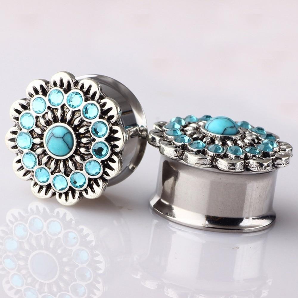1PC Retro Green Rhinestone Flower Ear Plugs Expander Flesh Tunnels Stainless Steel Body Piercing Jewelry Gauge 6 18mm in Body Jewelry from Jewelry Accessories