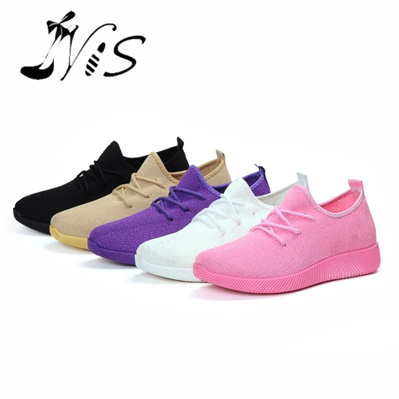 NIS Women's Casual Air Mesh Shoes, Black/White/Brown/Purple/Pink Walking Shoe, Lace-up Breathable Flats, Lightweight Summer Shoe  nis women air mesh shoes pink black red blue white flat casual shoe breathable hollow out flats ladies soft light zapatillas