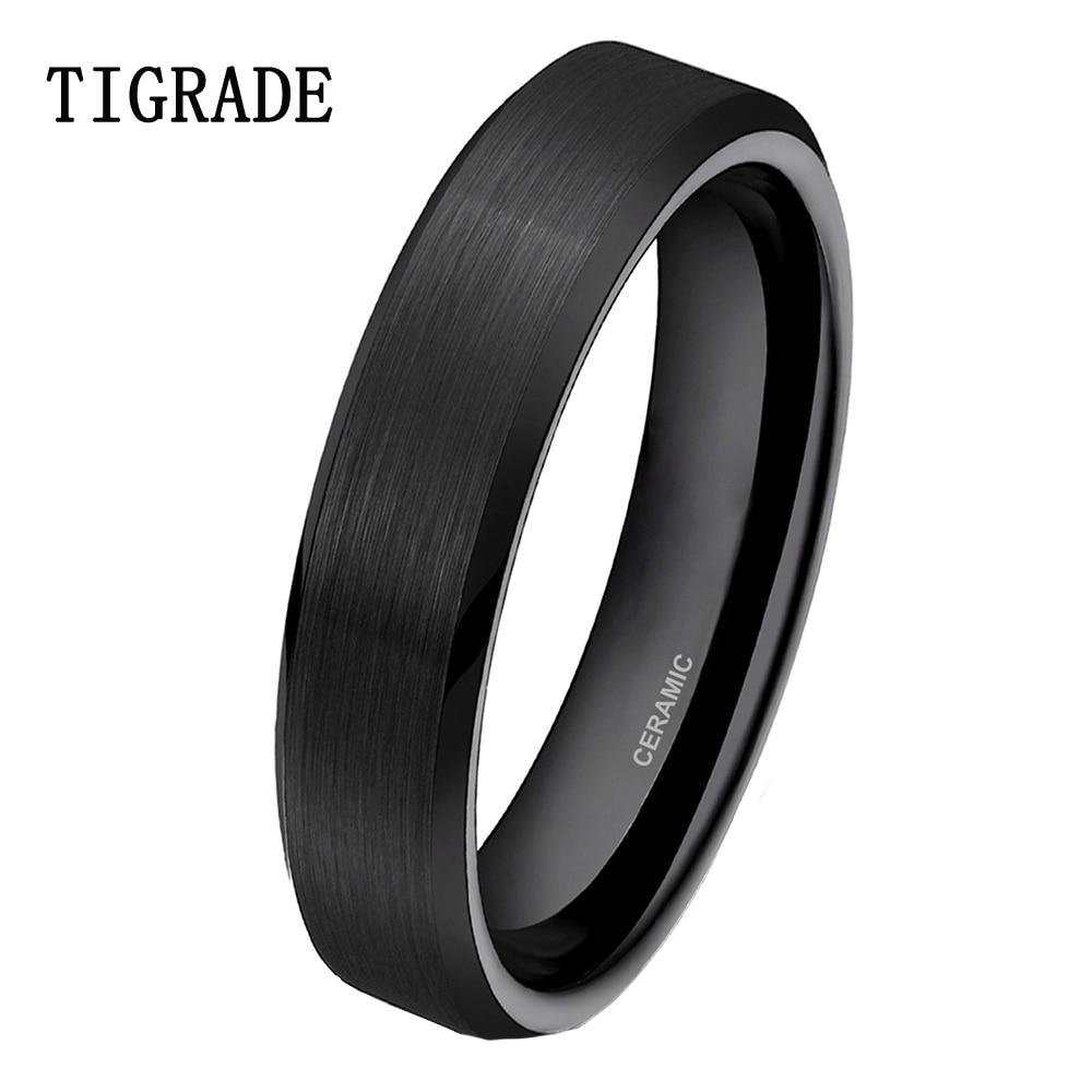 TIGRADE 4mm Black Brushed Ceramic Ring s