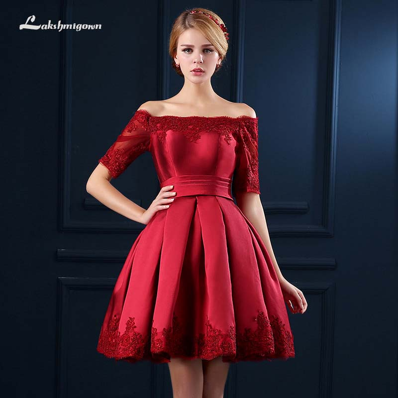 5 Colors Short Sleeve Prom Dresses A Line Lace Special Occasion Women Evening Party dress Cheap