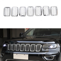 YAQUICKA For Jeep Grand Cherokee 2017+ Car Front Grill Grille Mesh Cover Frame Trim Car Mouldings Accessories New 7Pcs/set