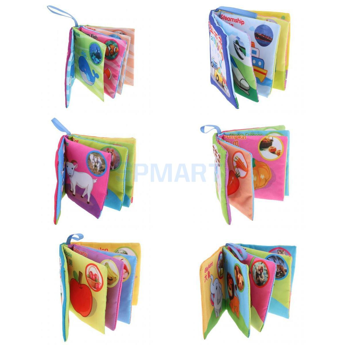 6 Set Soft Cloth Books Toddler Shapes Colors English Chinese Educational Toy