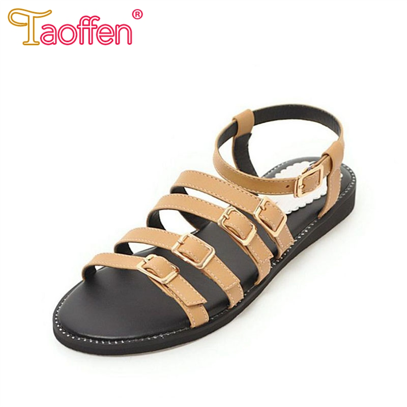 51445e341d581e Strap Buckle Shoes Footwears Sandals 34 Women Flats Vacation Flats Woman  Women TAOFFEN Summer Size Ankle ...