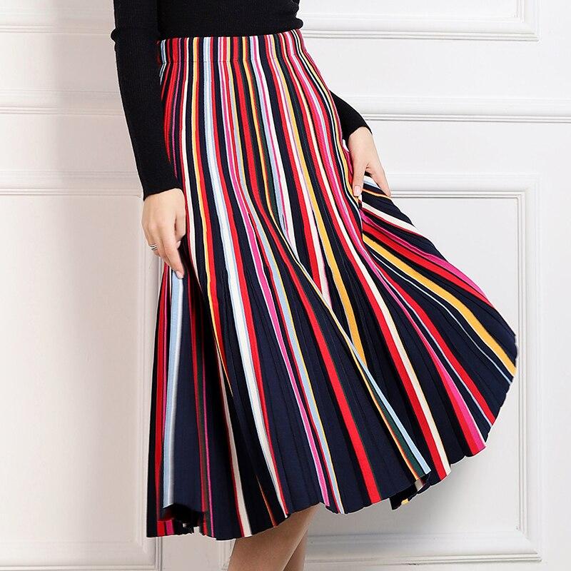 dc54eb3b9 KENVY marca moda mujer de gama alta de lujo Otoño Invierno Arco Iris rayas  salvaje Delgado Falda ...