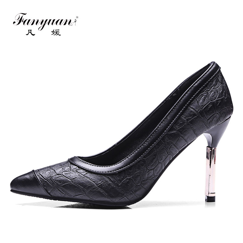 Fanyuan Italian style Pumps women shoes sexy Office lady Pointed toe Metal high Thin heels mature slip on girls Dress stilettos newest flock blade heels shoes 2018 pointed toe slip on women platform pumps sexy metal heels wedding party dress shoes