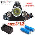 Led Headlamp Headlight 9000 Lumens Linterna Frontal 3x Cree XM-L2 Hiking Flashlight Head Torch Light with Charger