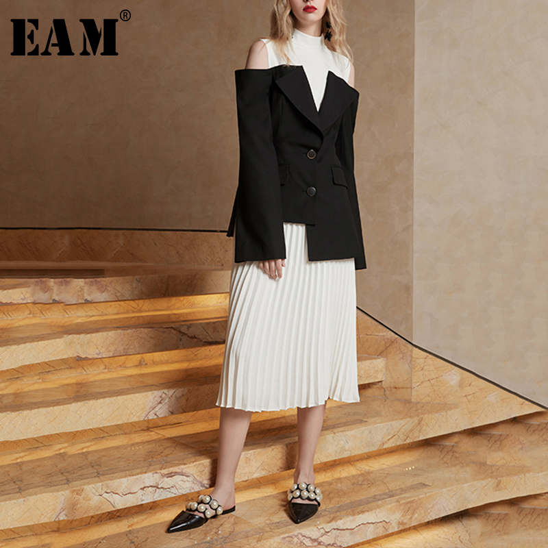 EAM 2019 New Spring Summer Off Shouler Long Sleeve Hit Color Pleated Loose Half body