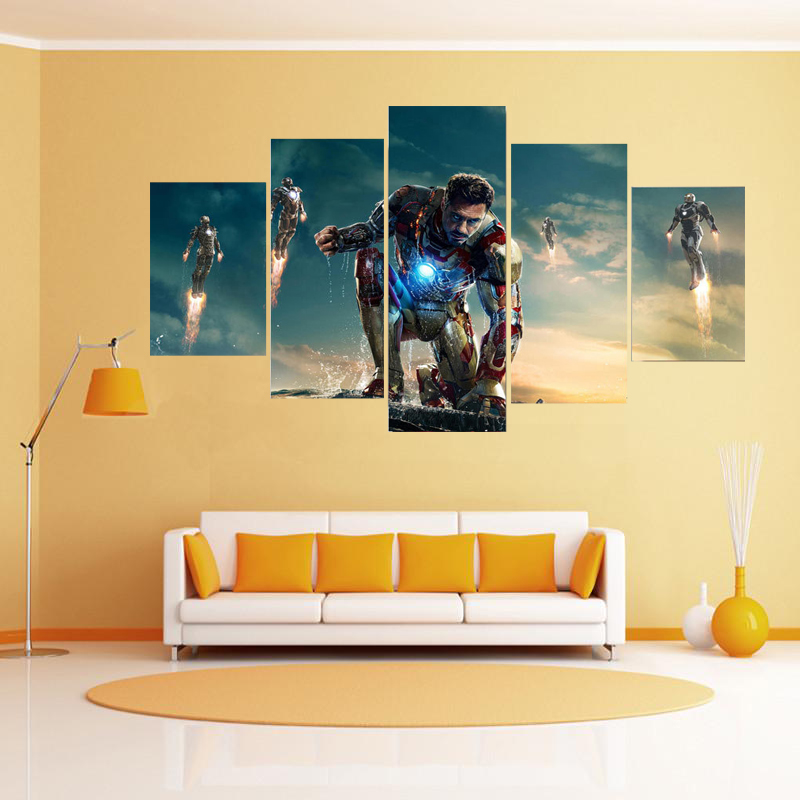 Free shipping 5 panels oil painting iron man movie poster for 10x20 living room
