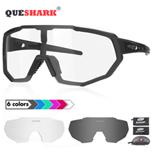 QUESHARK 2019 New Design Photochromic Cycling Glasses For Man Women Bike Eyewear Sunglasses 4 Lens Mirrored UV400 Goggle