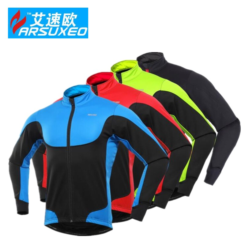 ARSUXEO Cycling Jacket Winter Thermal Warm Up Fleece MTB Bike Light Weight Windproof cyc ...