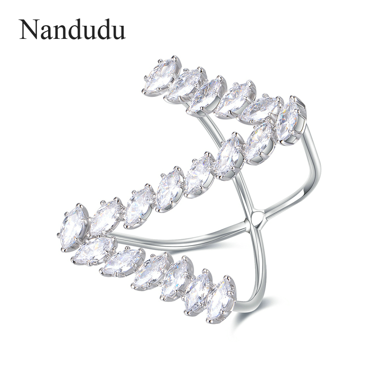Nandudu Sparkling Special Design Letter Z Ring Prong Setting AAA Zircon Stone Rings Accessories for Women Cocktail Party R1879