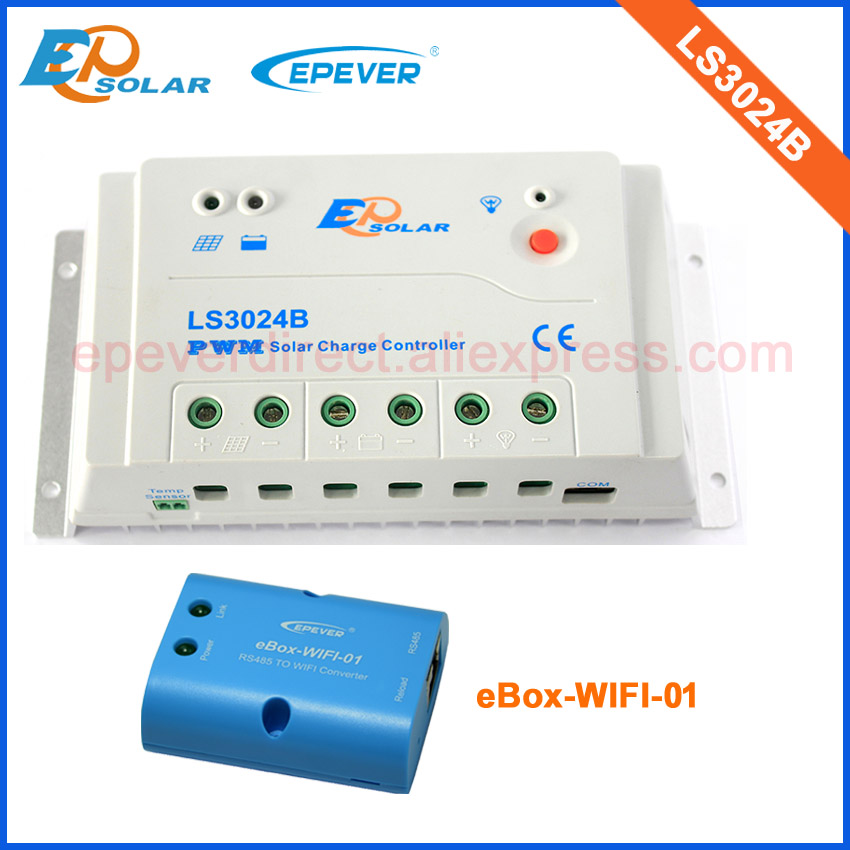 Charge battery controller 30A 30amp LS3024B for solar panel home system with wifi connect function APP use 100w 12v monocrystalline solar panel for 12v battery rv boat car home solar power