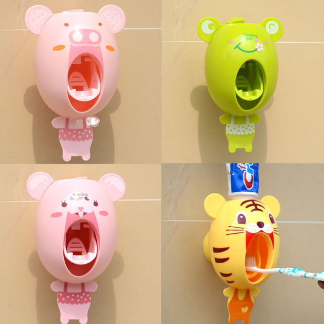 Cartoon Squeezer Out Holder Child Student  Bathroom Sucker Accessories Creative Home Automatic Lazy Tooth Paste Dispenser