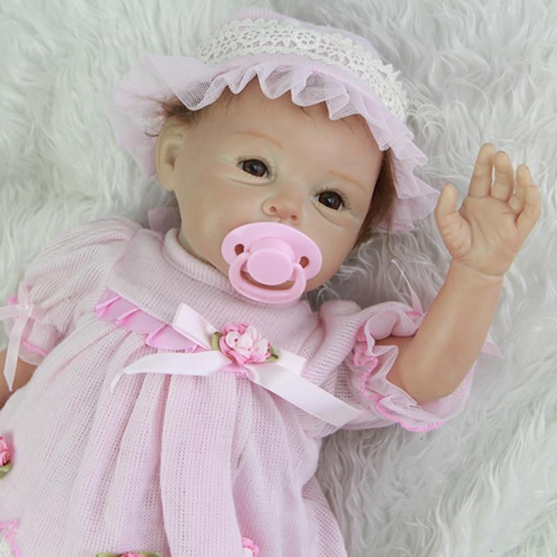 55 cm 22 Inch Cute Reborn Silicone Baby Dolls Realistic Alive Newborn Babies Cloth Body Doll