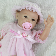55 cm 22 Inch Cute Reborn Silicone Baby Dolls Realistic Alive Newborn Babies Cloth Body Doll Toy With Hat Kids Birthday Gift