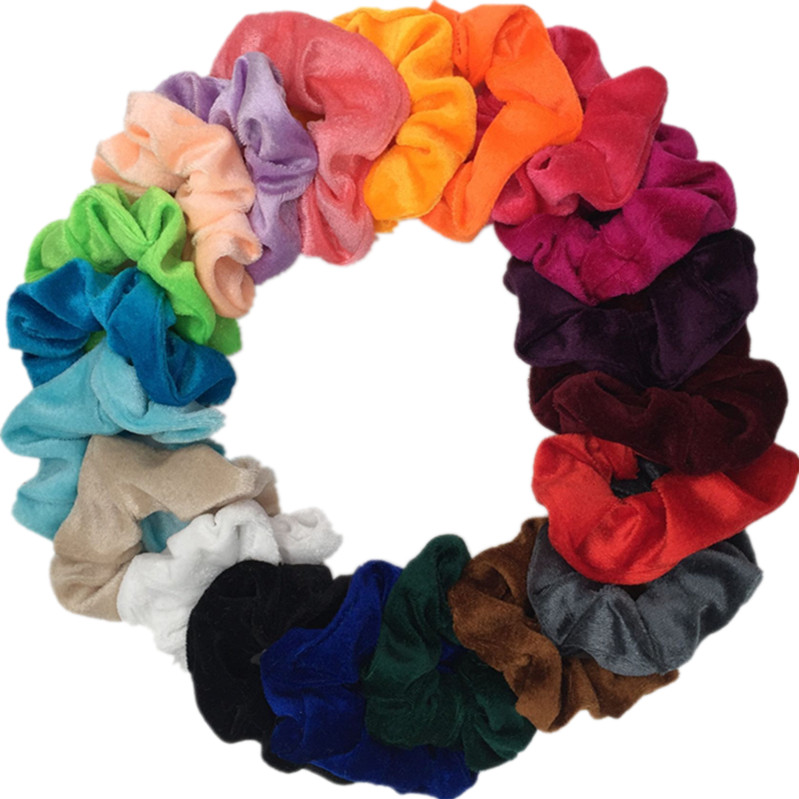 Hair scrunchie pack velvet elastic bands no crease ties for women girl lady hair accessories solid dot leopard colorful ponytail(China)