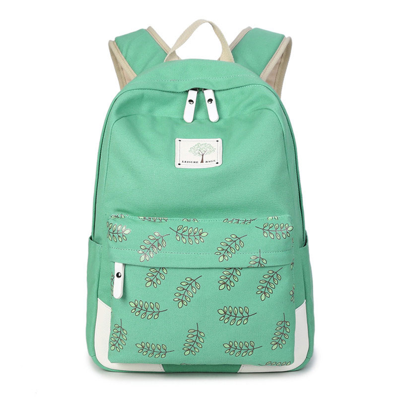 New canvas Backpack Female Preppy style Student School Bag laptop fashion travel Bags Women leaves Printing Backpacks 2017 new masked rider laptop backpack bags cosplay animg kamen rider shoulders school student bag travel men and women backpacks