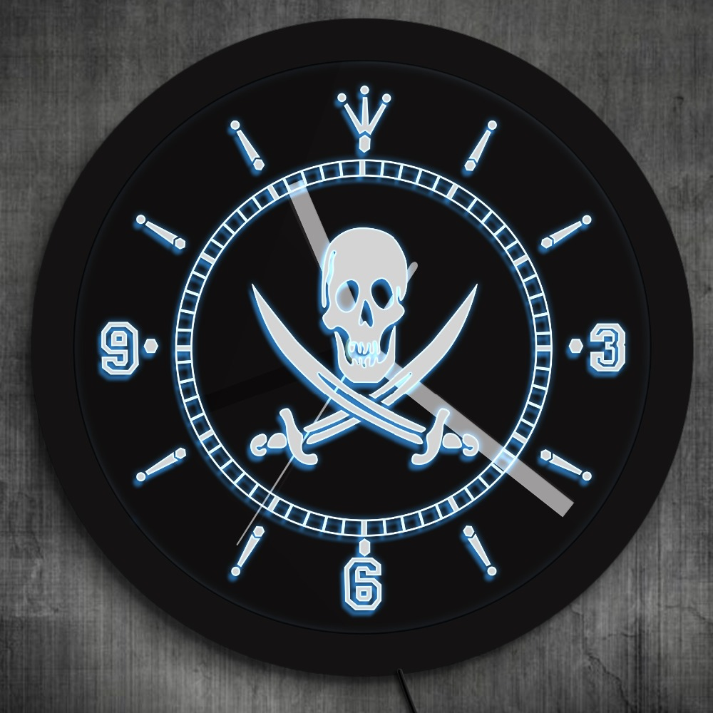 1piece Skull With Crossed Swords Led Neon Sign Wall Clock Jolly