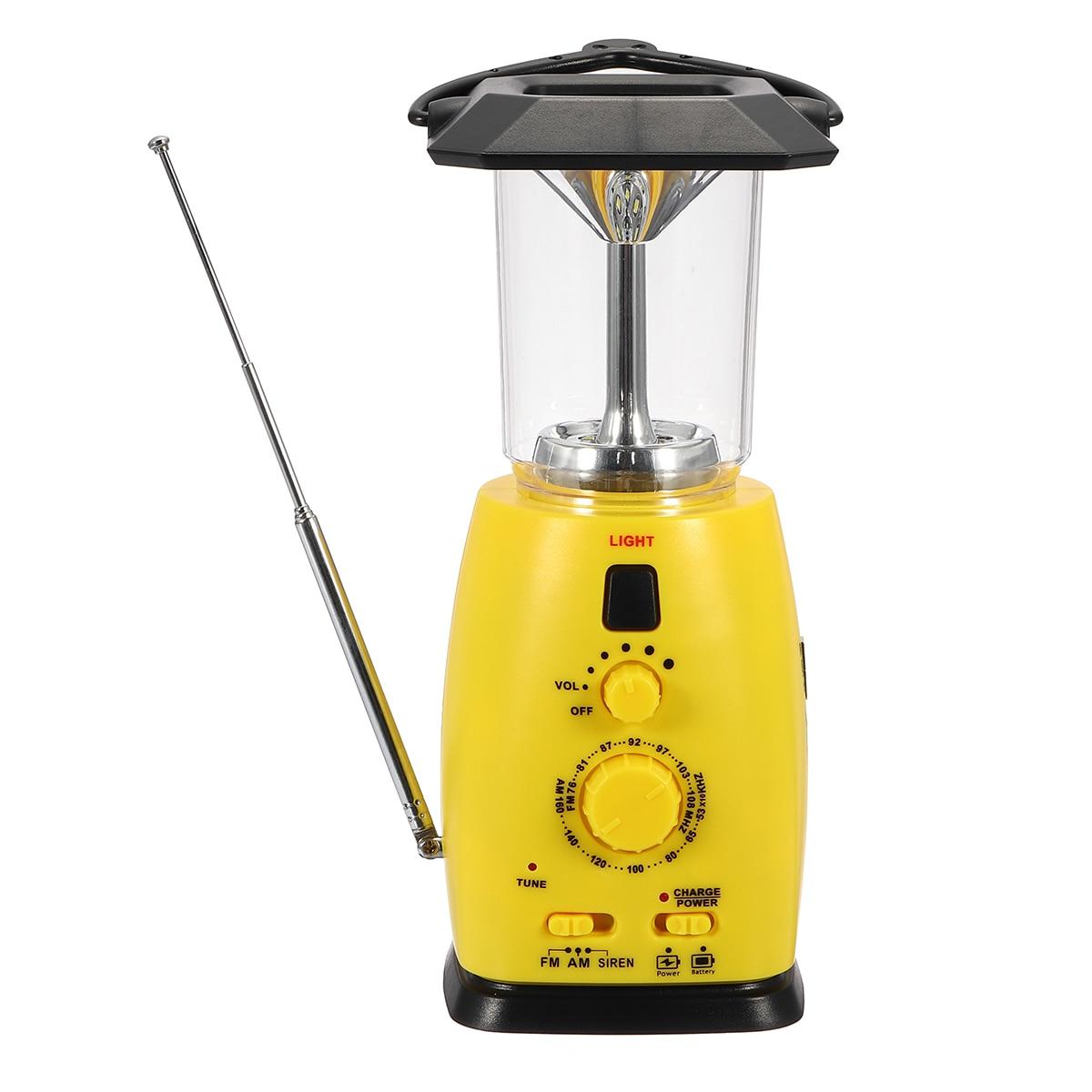 Hand Crank Emergency Light Portable Crank Solar 8 LED Camping Flashlight Radio Digital Mobile Phone Charging Solar Outdoor Lamp