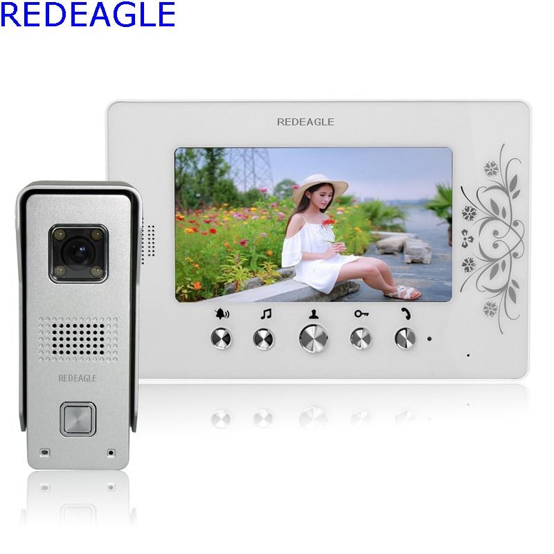 REDEAGLE 7 inch LCD Color Video door phone Intercom System Waterproof Night Vision Bell 700TVL HD Camera Home Security недорго, оригинальная цена