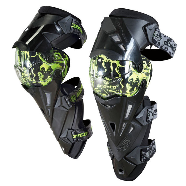 SCOYCO K12 Protective kneepad Motorcycle Knee pad Protector Sports Scooter Motor-Racing Guards Safety gears Race brace CE Green