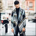 M-XXL 2016 осень И зима мужчины средней длины траншеи Хит цветной печати мода длинные пальто личность случайные верхняя одежда костюмы