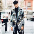 M-XXL 2016 autumn And winter men medium-long trench Hit color printing fashion long coats personality casual outerwear costumes