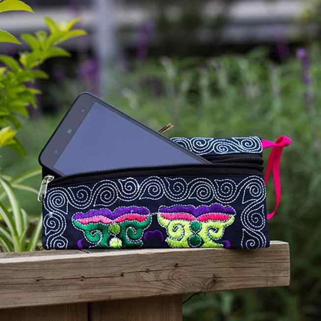 Цветочный женский этнический клатч ручной работы с вышивкой, винтажный кошелек, длинный стиль, многофункциональный кошелек, кошелек