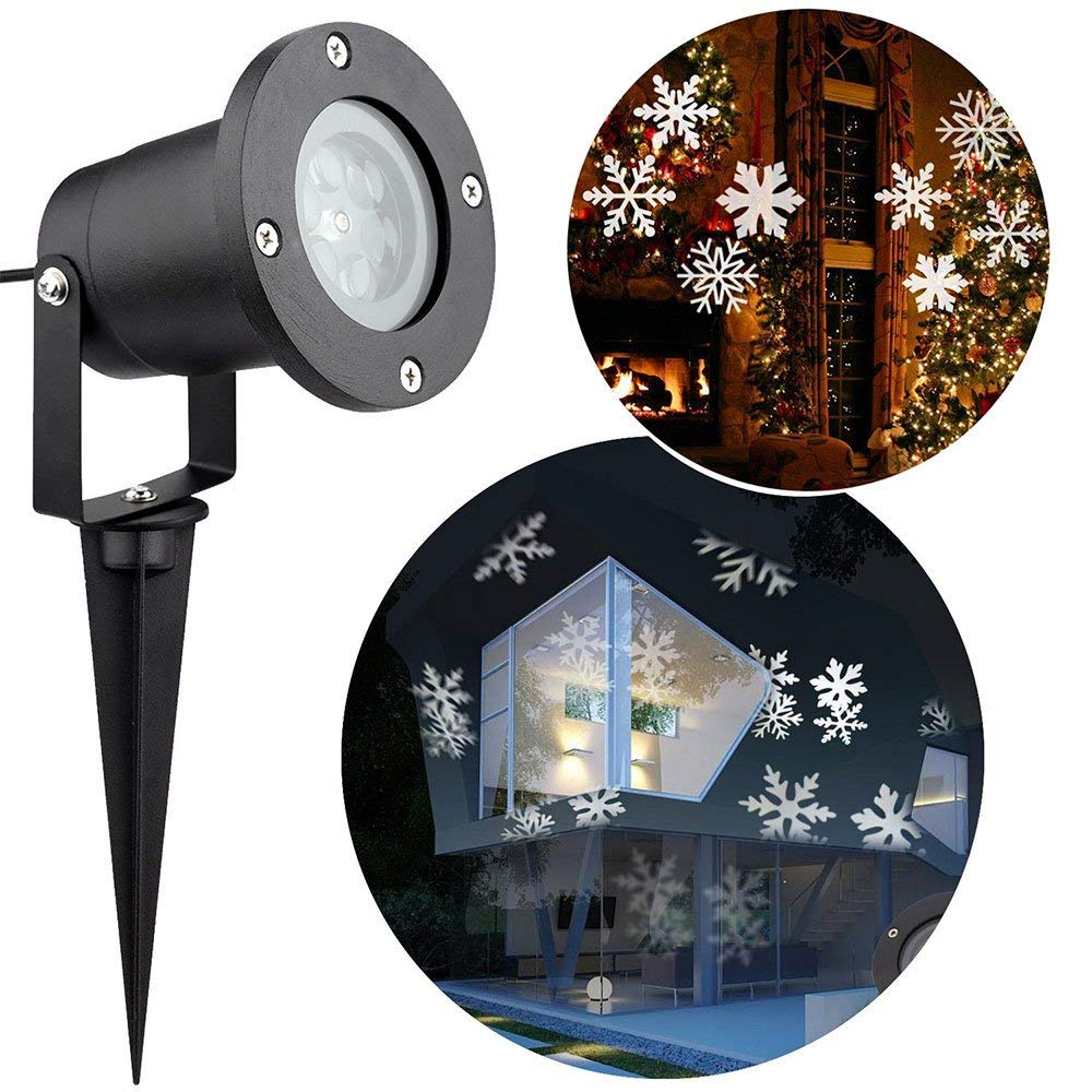 цена на Christmas LED Snowflake Projector Lamp Waterproof Xmas Landscape Spotlight White Moving Lighting lumiere Outdoor Garden Decor
