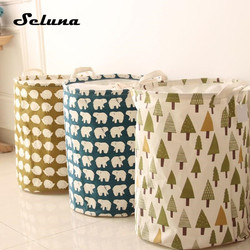 INS Foldable Cotton Linen Laundry Bag Waterproof Canvas Large Drawstring Laundry Basket Toys Storage with Lid Clothes Organizer