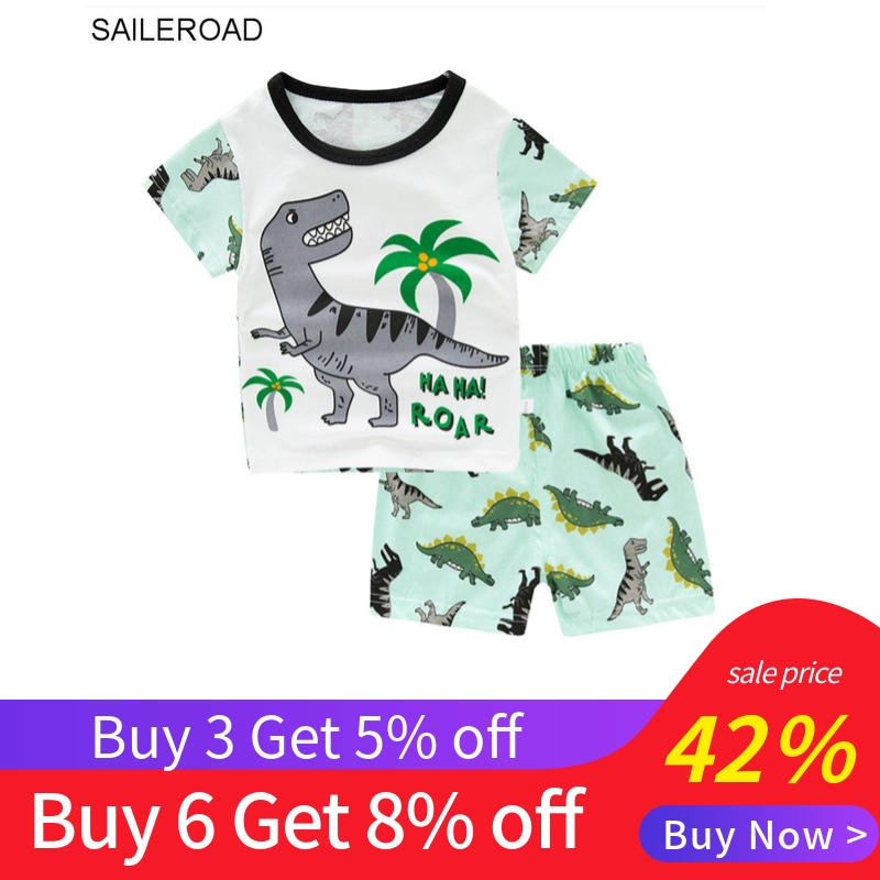 SAILEROAD Summer Children Pajamas Boys Dinosaur Pyjamas Baby Cotton Pijama Infantil Kids Sleepwear Nightwear Child Clothing Sets