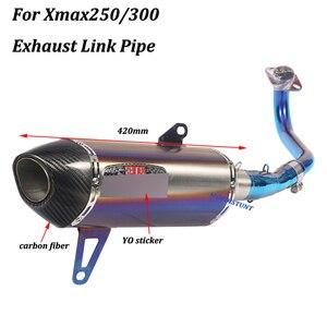 Image 2 - Per Yamaha Xmax250 Xmax300 Completa del Sistema di scarico Moto Fuga Modificato Con Frontale in acciaio inox Metà di Collegamento Tubo di Scivolare su