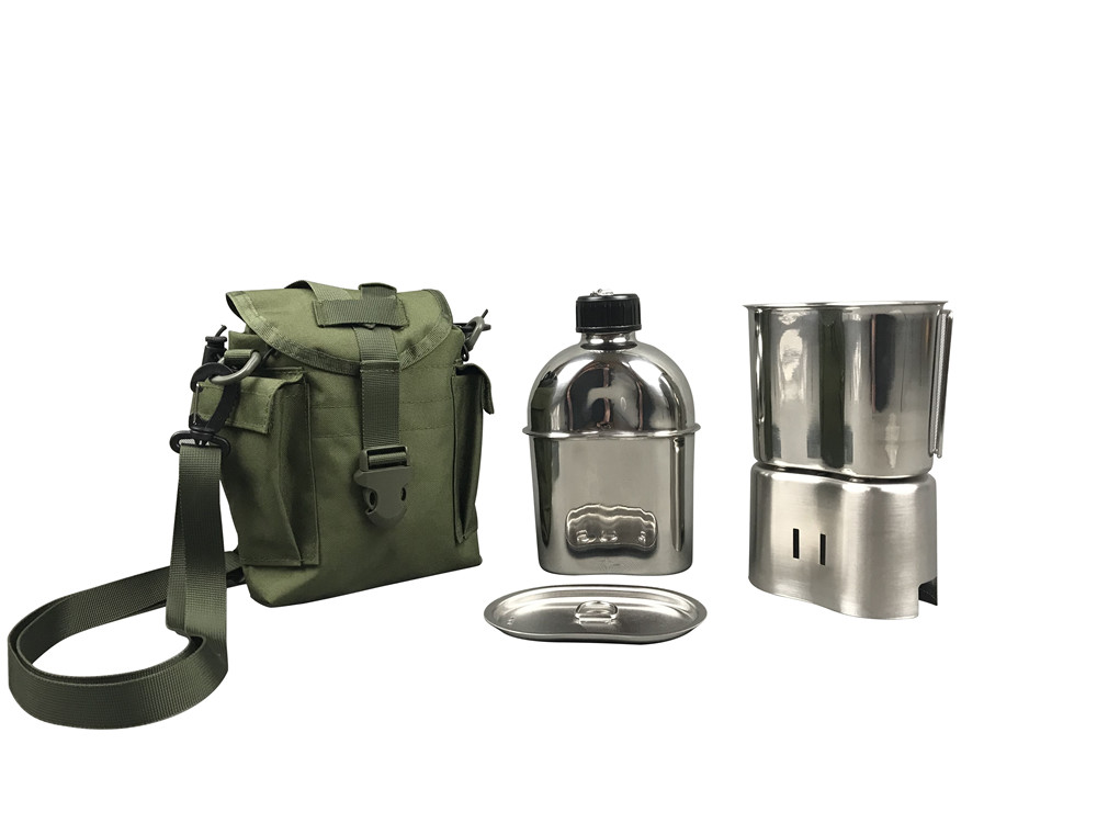 Jolmo Lander G.I. Style Canteen 1.2L&Stainless Steel Canteen Cup 0.8L with Lid&Canteen Cup Stove/Stand&Acu Oxford Pouch 5pcs