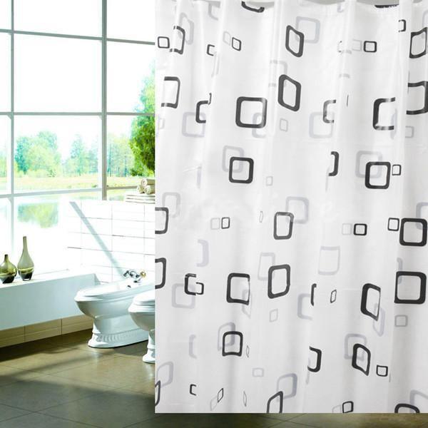 FJS! Details about 180cm x 180 cm Black White Square Bathroom Waterproof Fabric Bath Shower Curtain