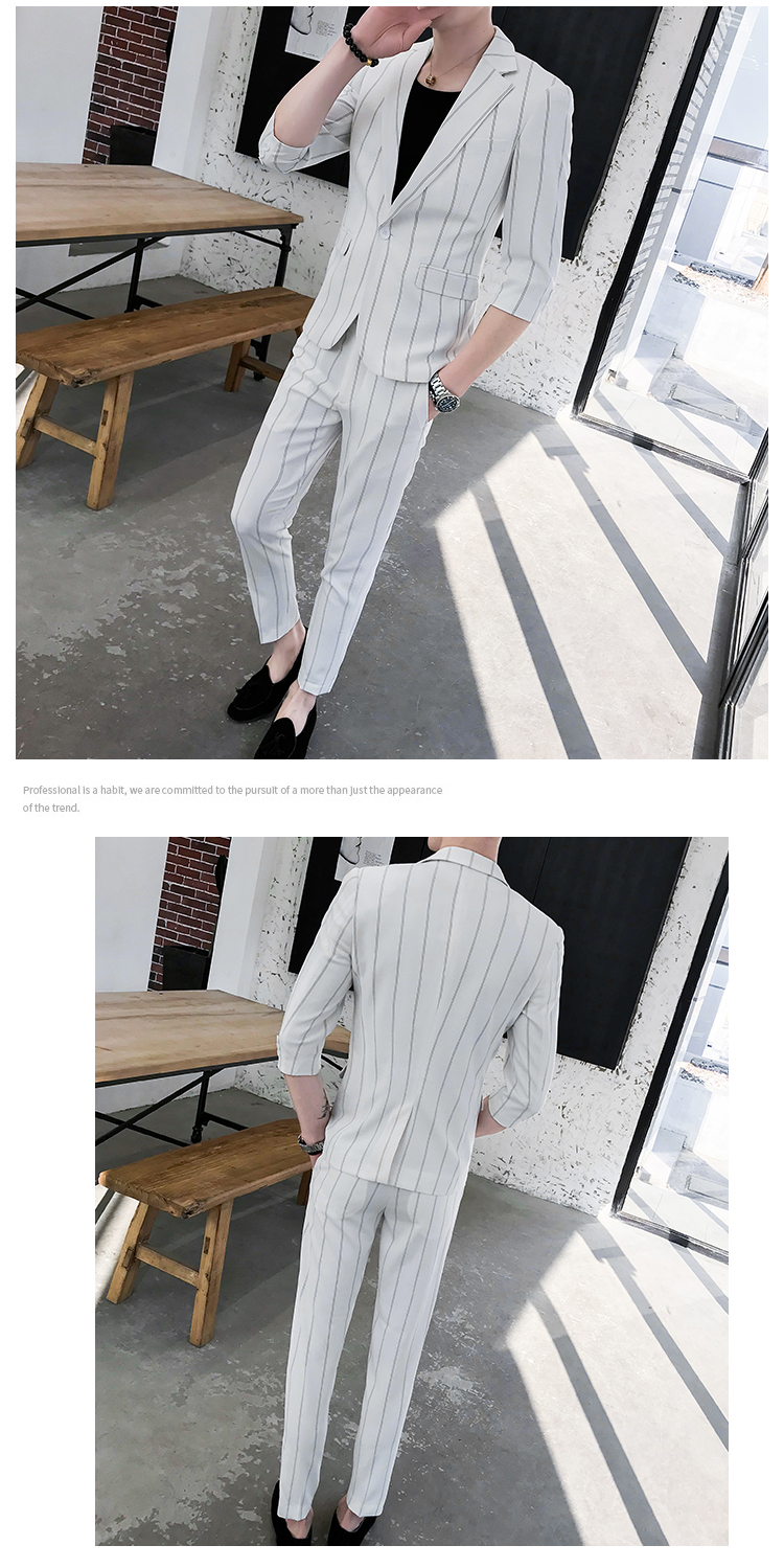 HTB1eEvhRxTpK1RjSZFMq6zG VXa1 custom Small Size Men's Wear Summer 2019 New Men's Middle Sleeve Suit Stripe Two piece Fashion Japanese Slim Suit