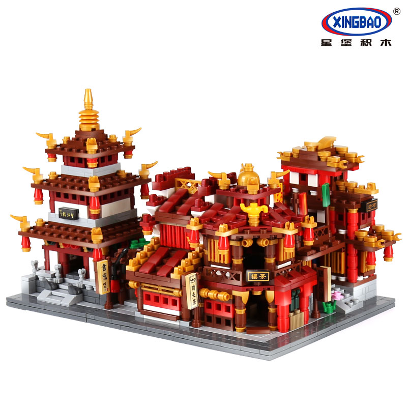 XingBao 01102 Genuine 1502Pcs Zhong Hua Street Series The Teahouse Library Cloth House Wangjiang Tower Set Building Blocks Brick комплект genius kmh 200 черный usb клавиатура мышь гарнитура
