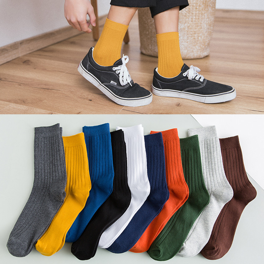 Men's Socks Vertical Tube Socks Cotton Deodorant Sweat-absorbent Breathable Business Cotton Socks Men's Autumn And Winter