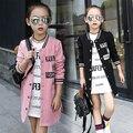 2016 Outono nova versão Coreana do casuais meninas menino grande collar letras impressas longo-sleeved camisa de beisebol cor sólida jaqueta