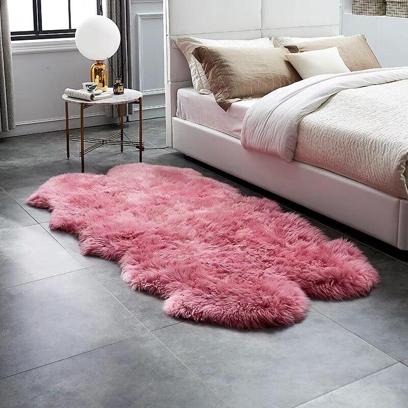Aozun Natural Pink Color Sheepskin Rug Quarto Shaggy Sheep