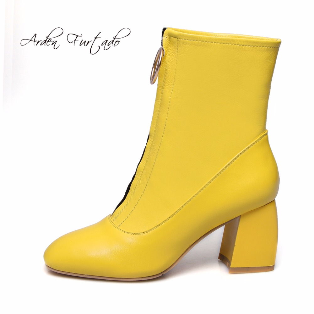 Arden Furtado 2017 winter genuine leather zipper ankle boots fashion shoes for woman hoof heels round toe chelsea yellow boots