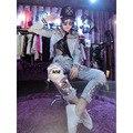 Boyfriend Jeans Para Mulheres Jeans Angustiados Rasgado Branqueada Washed Denim Casual Calças com Remendos de Lantejoulas Alta Qualidade P013