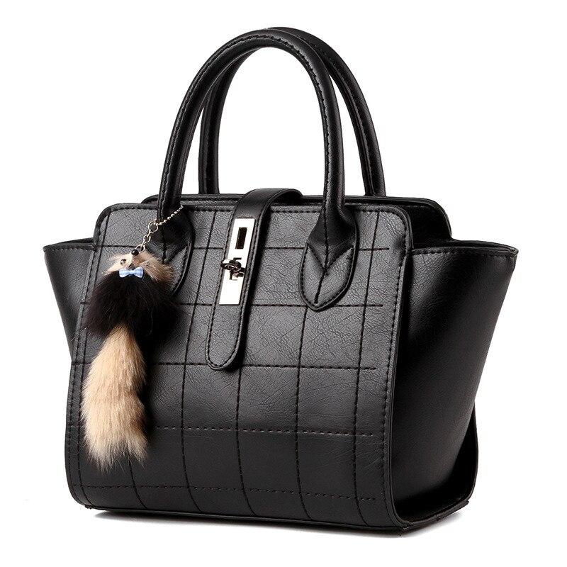 купить Fashion Thread Black PU Women Handbag Cusual Elegant Office Lady Shoulder Bag Toggle Zipper по цене 4147.63 рублей