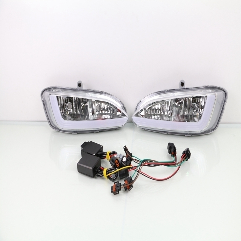 1 Set White Yellow LED DRL Daytime Running Light With Turn Signals Lamps Fog Driving Lights for Hyundai Santa Fe IX45 2013-2015 qvvcev 2pcs new car led fog lamps 60w 9005 hb3 auto foglight drl headlight daytime running light lamp bulb pure white dc12v