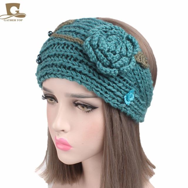 Neue frauen Häkeln 3D Rose Winter Stricken handgemachte Stirnband ...