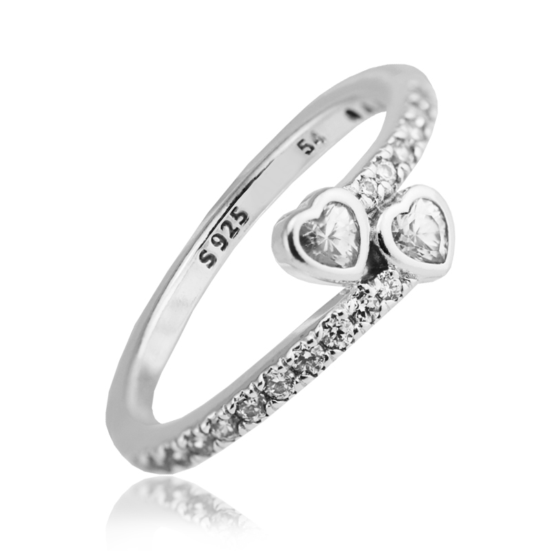 FLR107.1 2017 Valentine\'s Day Ring Women 100% 925 Sterling Silver Clear CZ Forever Hearts Rings For Women Ring Fits European Jewely  (1)