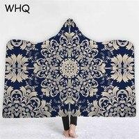 WHQ Blue and White Geometric Hooded Blanket Mandala Thick Wearable Blanket Winter Sofa Bed Throw for Adults Kids Cobija Cobertor