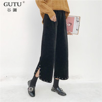[GUTU] Autumn And Winter 2017 Korean New Pattern High Waist Rivet Vent Tiny Horn Leisure Time Pants Loose Black Woman FA47802